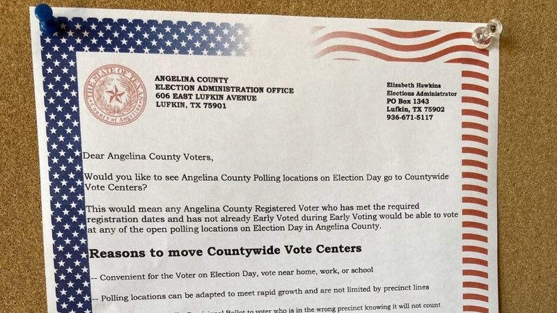 KTRE's Jeremy Thomas reports on proposed changes to the way Angelina County residents would vote.