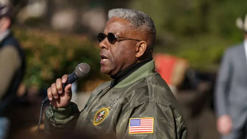 State GOP Chairman Allen West speaks at a Texas Republican Party rally on the east side of the...