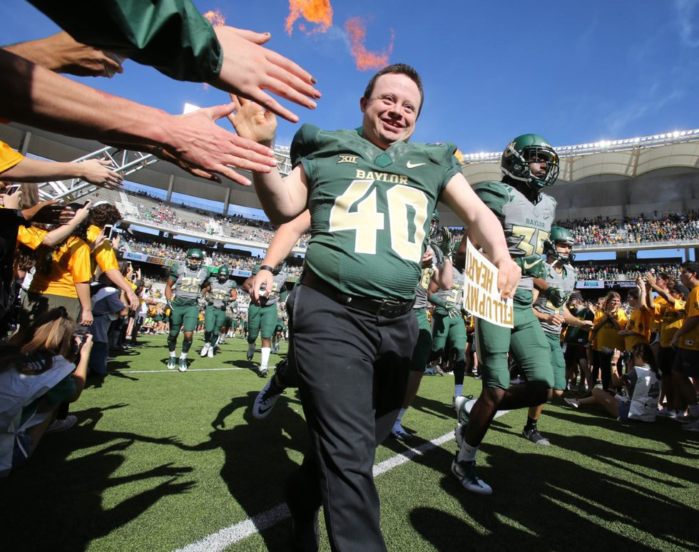 FILE: In previous years, Clint has run out into the field with the Baylor Football team.