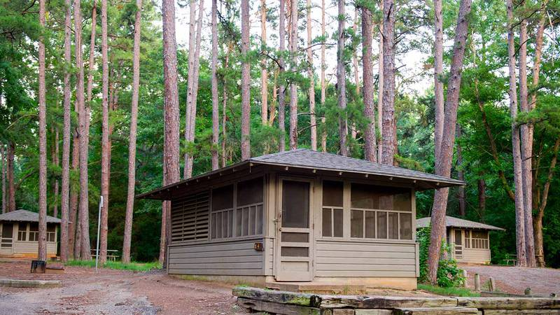 Screened camping shelters at Tyler State Park