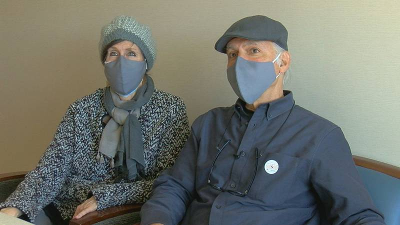 The Levy couple traveled from Dallas to Tyler to get their first dose of the COVID-19 vaccine.