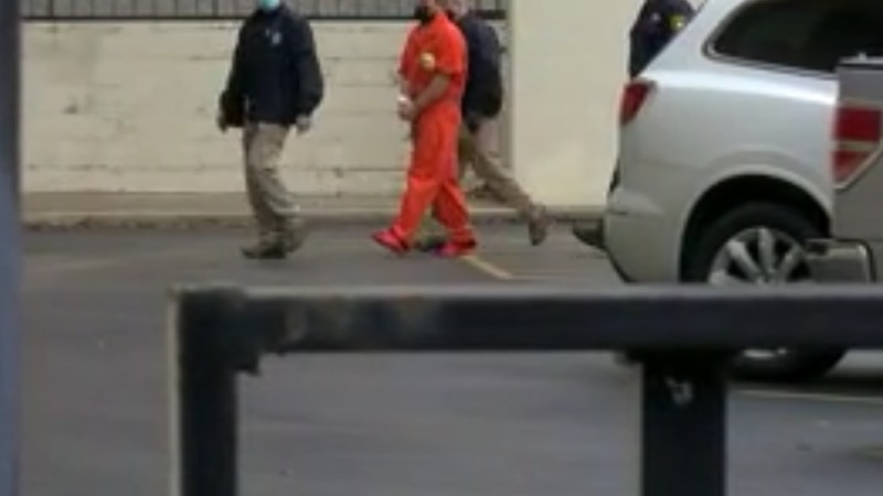 Ryan Nichols arrives for detention hearing at the Tyler federal courthouse.