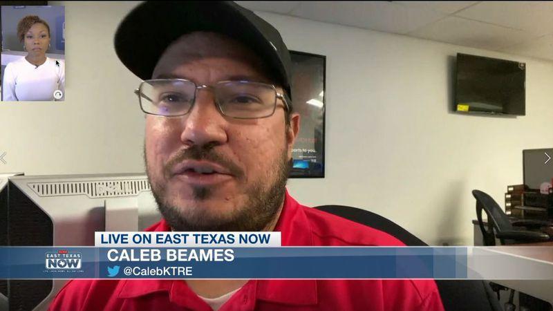 ETN host Kayla Lyons speaks to KTRE Sports Director Caleb Beames. (Source: KLTV Staff)