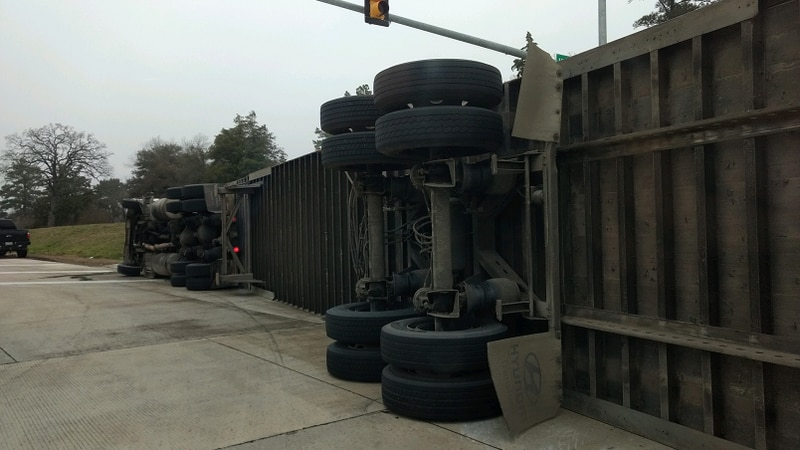The truck was attempting to turn onto the loop in Carthage.