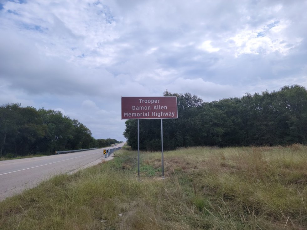 The Trooper Damon Allen Memorial Highway marker