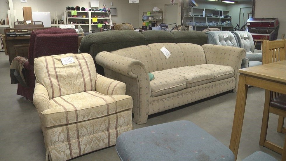 Shoppers can find discounted furniture, clothing, cookware, toys, and books inside the store....