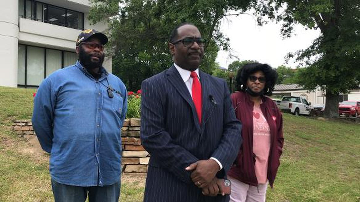Eric Williams holds a press conference outside of Marshall City Hall.