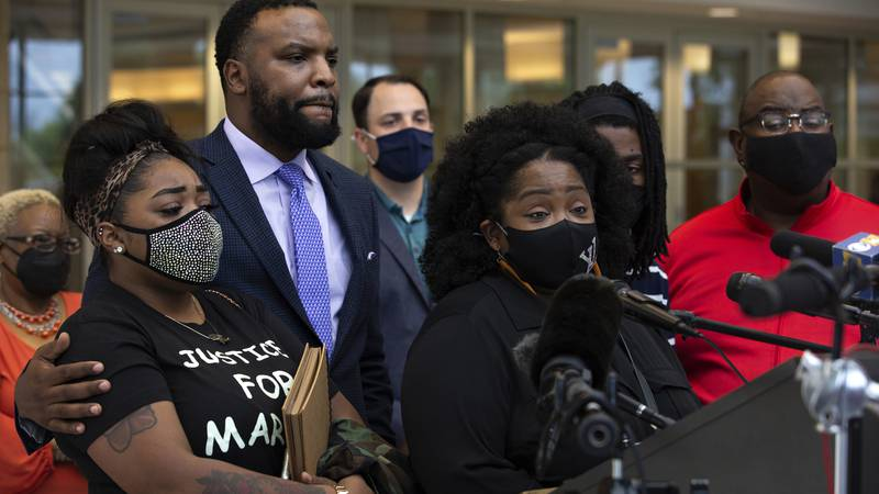 LaSandra Scott speaks during a news conference concerning updates on her son Marvin Scott III's...