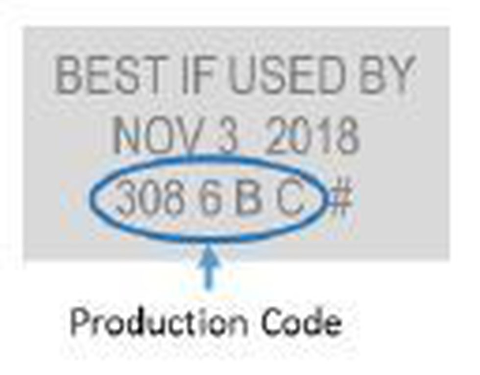 The production code is printed on the back panel. (Source: Pictsweet Company)