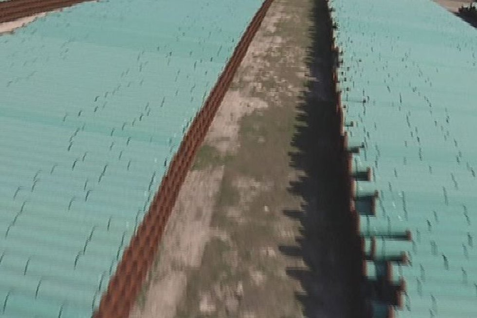Pipe is stored in East Texas in 2012 in preparation for the construction of the Keystone XL...