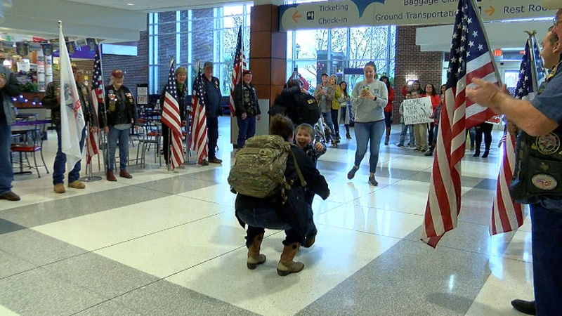 Thomas White, 5, was surprised to see his mom, Amanda Riley, after almost a year.