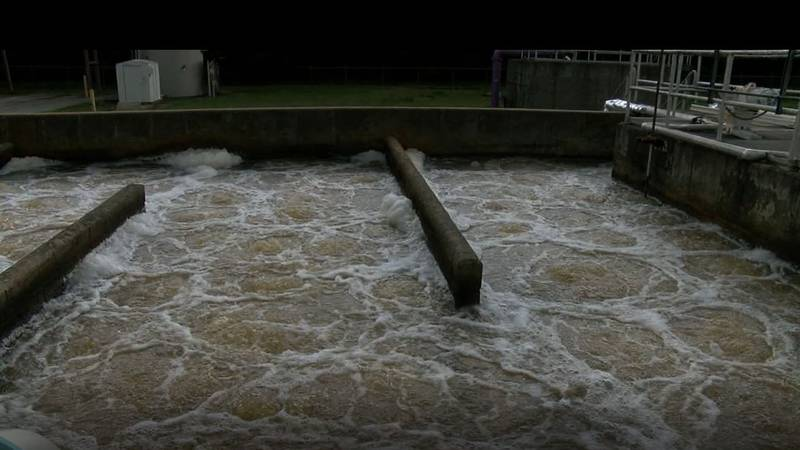 Pictured is water being treated at the surface water treatment plant at Lake Nacogdoches....