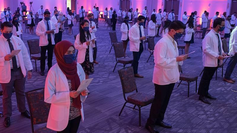 SHSU students participate in white coat ceremony