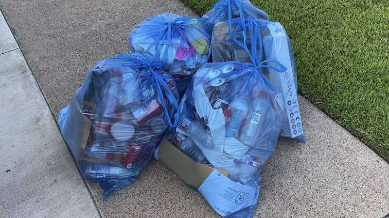 Nacogdoches Recycling offers special blue bags included with their pickup service