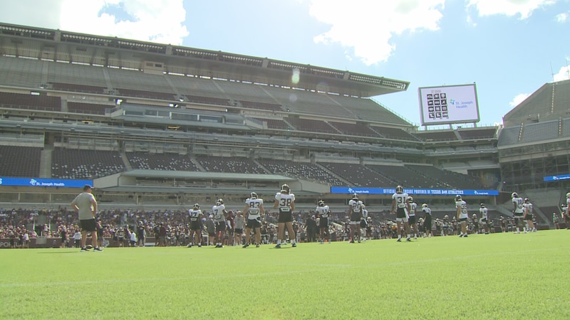 The Texas A&M football team holds an open practice to the public at Kyle Field.