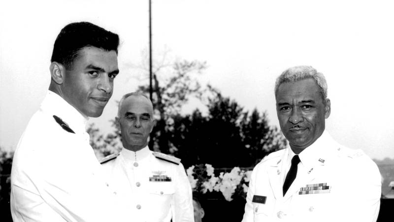 Merle J. Smith Jr., left, is pictured with his father, U.S. Army Col. Merle J. Smith, Sr., and...