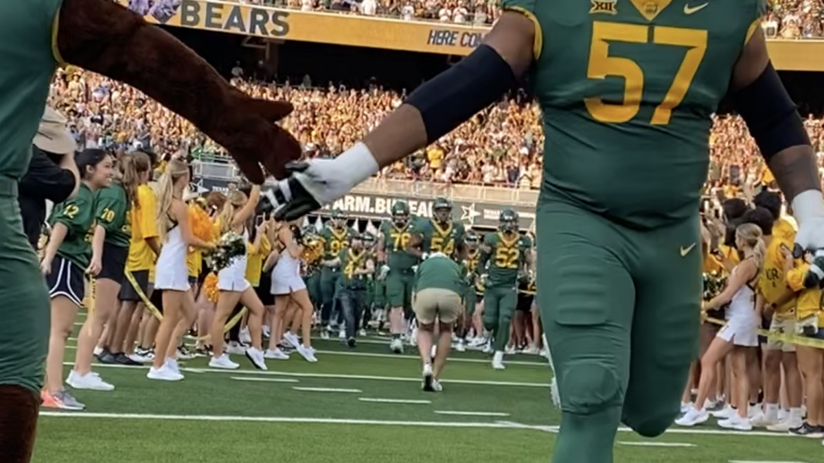 Baylor comes out of the tunnel before its home opener against Texas Southern
