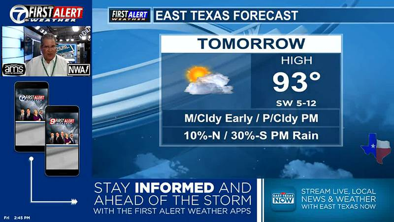 Tomorrow should be very similar to today, only a few sctrd showers/thundershowers.