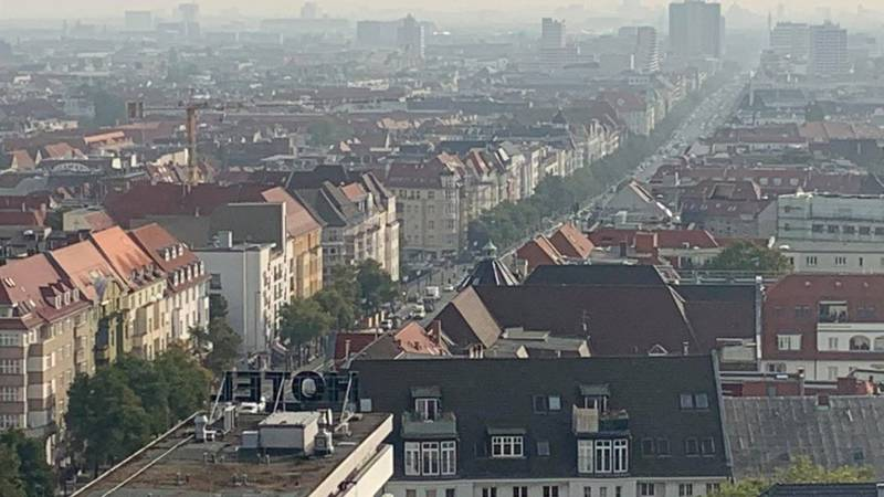 A view of Berlin, Germany from its Westend neighborhood, looking toward the Berlin TV Tower on...
