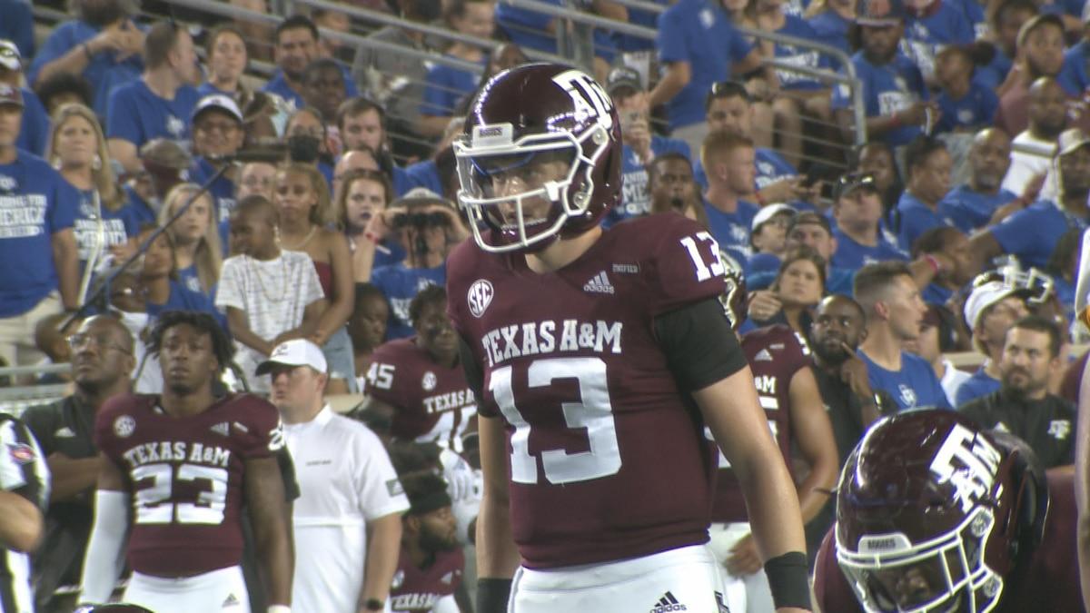 Texas A&M quarterback Haynes King during the Aggies' season opener against Kent State.