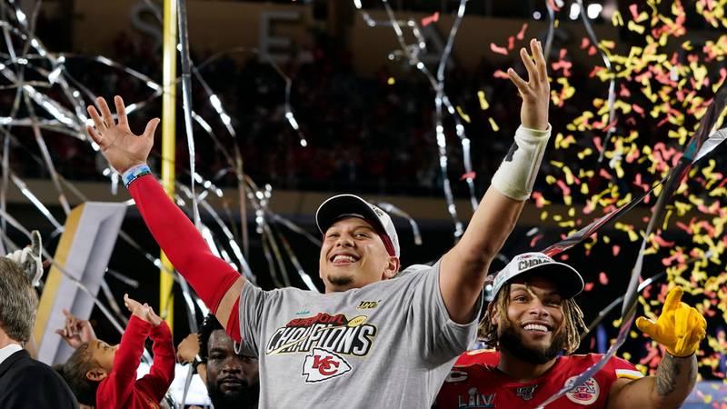 Kansas City Chiefs' Patrick Mahomes, left, and Tyrann Mathieu celebrate after defeating the San...