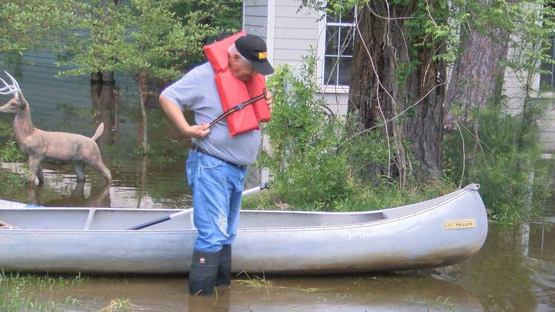Man has to canoe to get home