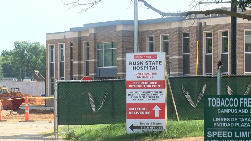 The construction entrance to the Rusk State Hospital with the new Administration Building in...