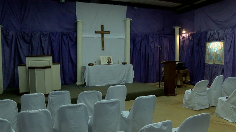 A temporary sanctuary has been set up inside an old, abandoned volunteer fire department for...
