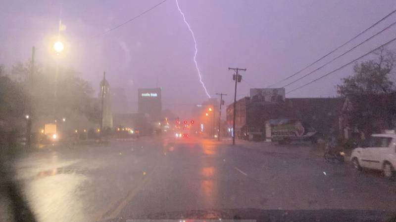 Lightning strikes near the downtown Tyler square as storms rolled through East Texas Wednesday...