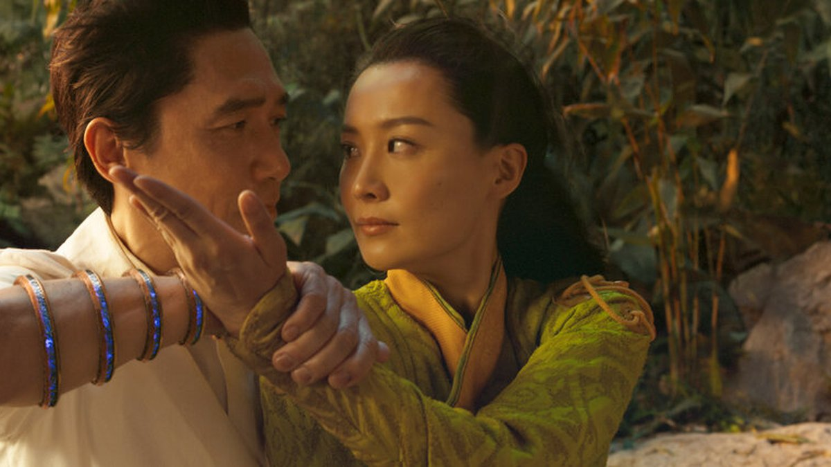 This image released by Marvel Studios shows Tony Leung, left, and Fala Chen in a scene from...
