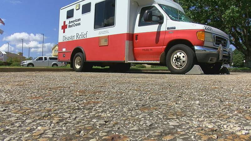 An American Red Cross Disaster Relief vehicle sits outside of the East Texas chapter's office...
