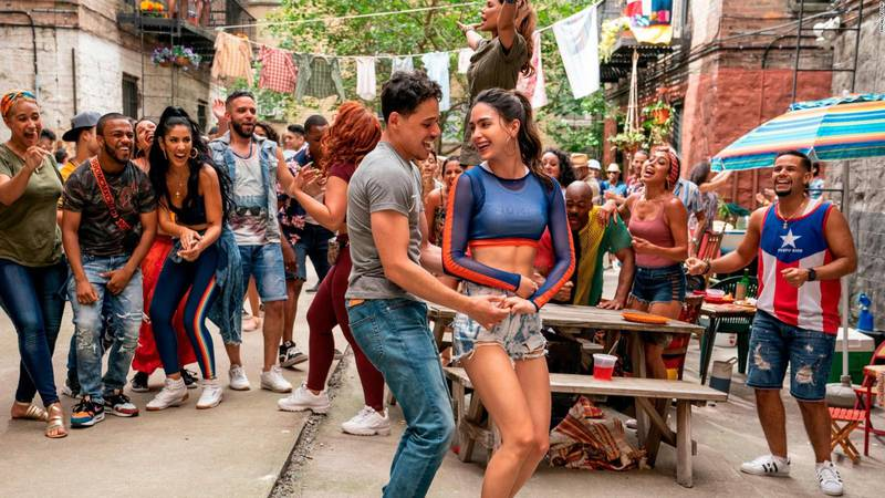 Usnavi (Anthony Ramos) and Vanessa (Melissa Barrera) dance in a scene from In the Heights.