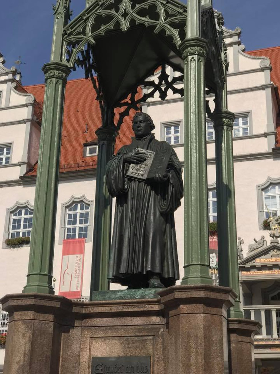 A statue dedicated to the German monk and scholar stands on the market square in Wittenberg....