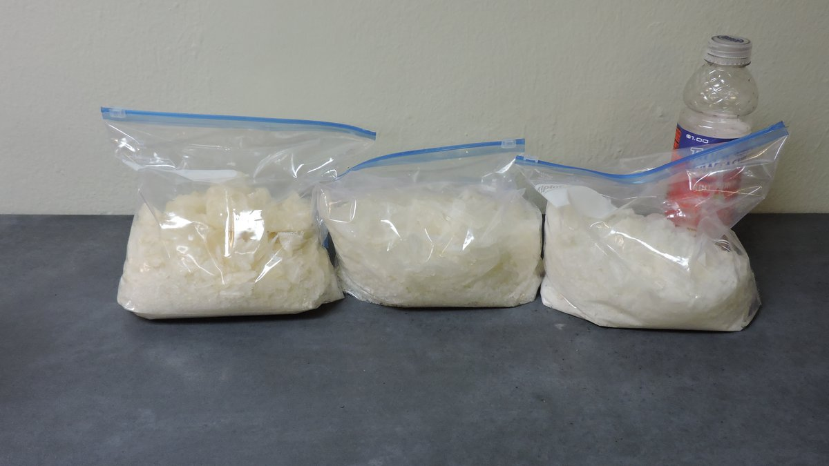 Nearly 3 kilos of meth were seized during the traffic stop in 2019.
