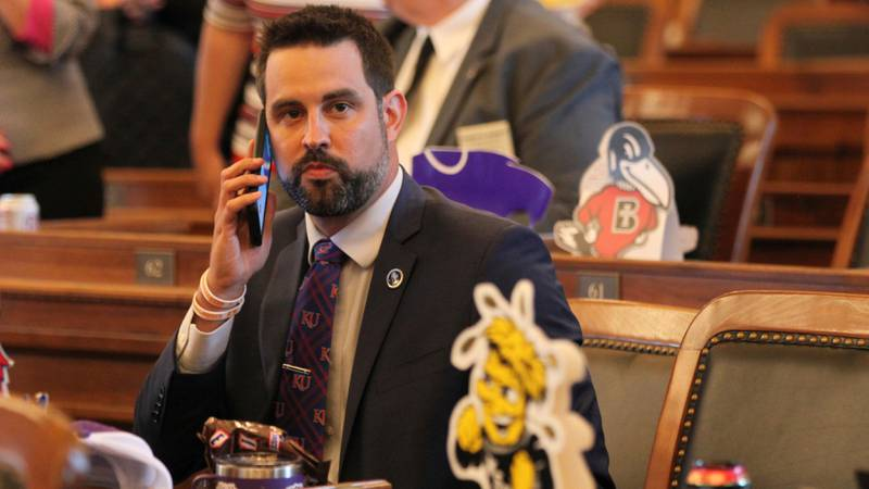 In this photo from Monday, May 3, 2021, Kansas state Rep. Mark Samsel, R-Wellsville, talks on...