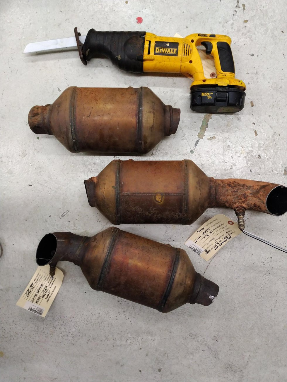Catalytic converters and sawzall police say Brown had in his possession.