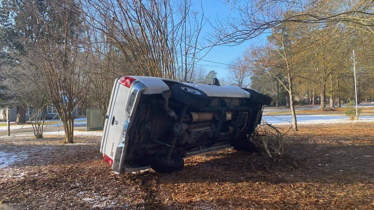 The Lufkin Police Department worked several wrecks like this one related to the icy road...