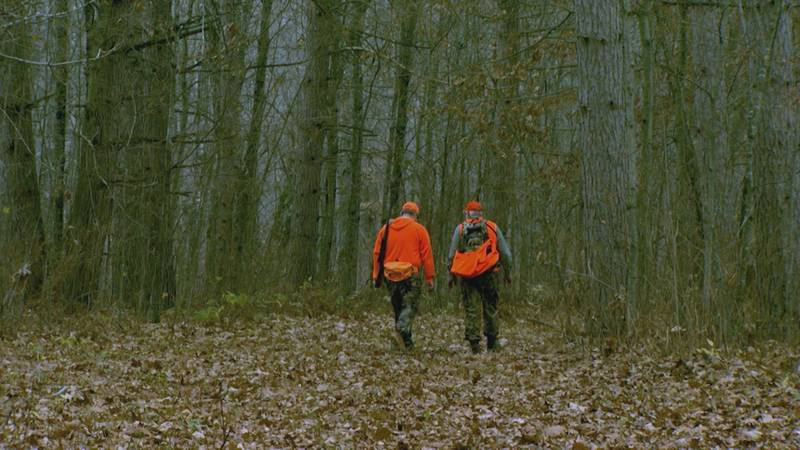 FILE — Two people walk into a wooded area on a hunting expedition in Minnesota.
