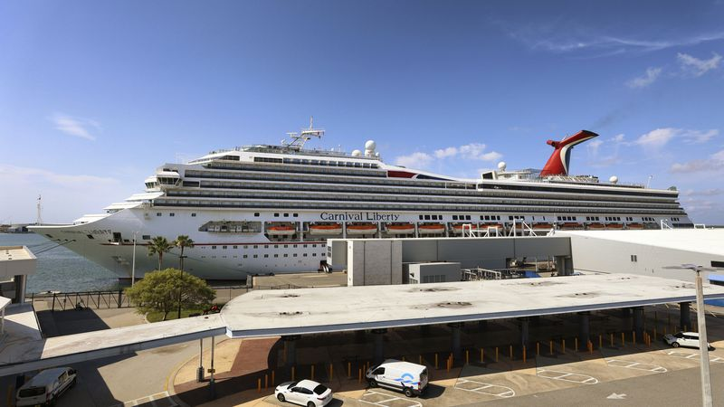 """FILE - In this Wednesday, May 12, 2021, file photo, the Carnival Cruise ship """"Liberty"""" is..."""