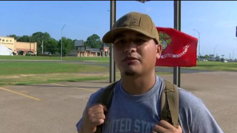 Former Marine sergeant Cruz Renteria and some of his friends and family went on a 13-mile hike...